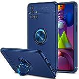 Coolden für Samsung Galaxy M51 Hülle mit 360 Grad drehbarer Ring Halter Ständer Ultra Dünn Handyhülle Hülle Weich TPU Bumper Cover Outdoor Stoßfest Schutzhülle für Samsung M51 Blau