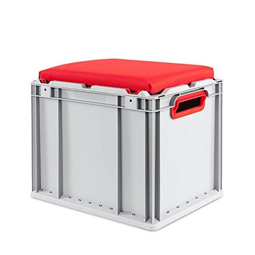aidB Eurobox NextGen Seat Box, rot, (400x300x365 mm), Griffe offen, Sitzbox mit Stauraum und abnehmbarem Kissen, 1St.