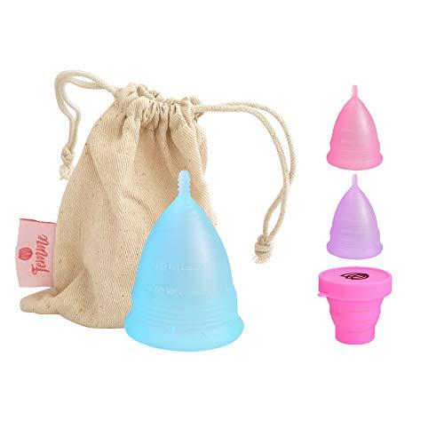 Femme Essentials Menstruationstasse - Diskret und Hygienische Menstruationskappe - aus medizinischem Silikon inkl. Satinbeutel und Deutscher Anleitung - Menstrual Cup - Blau (S)