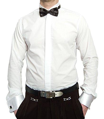Pierre Martin Smokinghemd Weiß mit Schwarzer Fliege Herren Hemd für Manschettenknöpfe mit Smoking Kragen Größe L 41