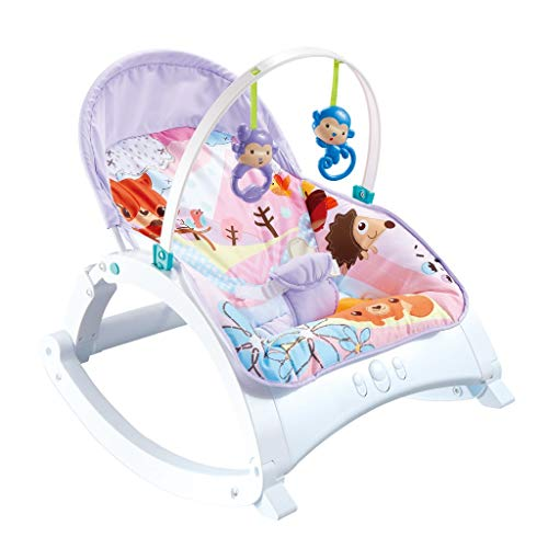 Electric Baby Rocking Chair, Rocking Chair with Smart Music Vibration Box, Foldable Toy Reclining Chair, Automatic Cradle Bedcan Be Used for Newborn Babies to 3 Years Old (UK spot,Multicolour)