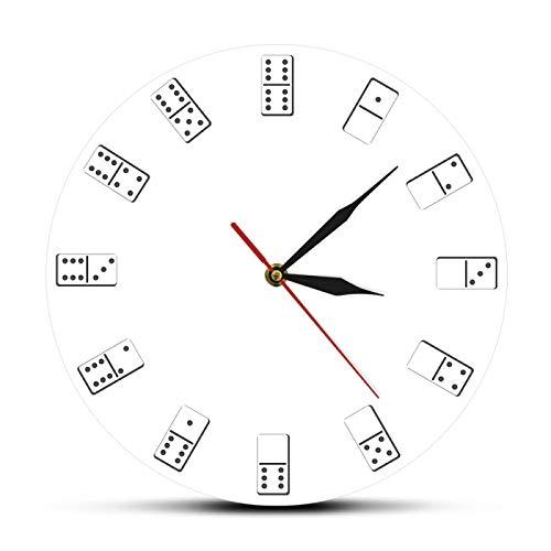 gongyu Reloj de Pared Inspirado en Dados de dominó, Juegos de PAI Gow, Arte de Pared, Casino, Divertido, decoración del hogar, Juego de apuestas, Reloj de Pared de Barrido silencioso
