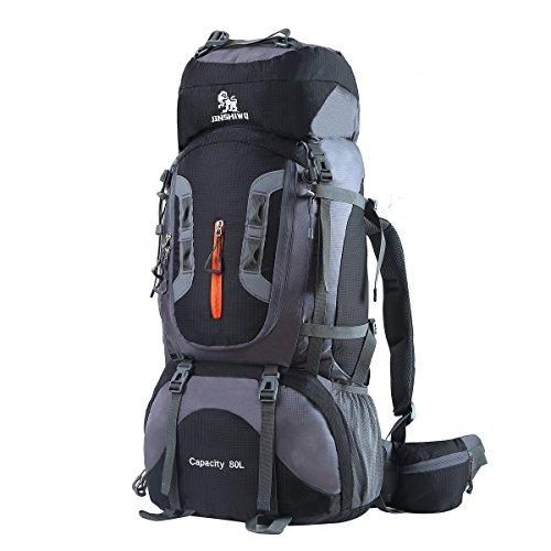 HWJIANFENG Trekkingrucksack Wanderrucksack - Große Kapazität 80L - Ultraleicht, strapzierfähig - Perfekt für Camping/Wandern/Bergsteigen/Reisen, Schwarz