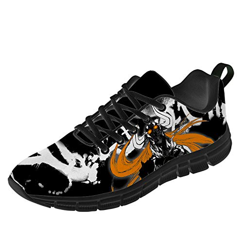 Uminder Bleach Anime Shoes for Mens Womens 3D Print Lace-up Fashion Breathable Lightweight Non-Slip Otaku Anime Cosplay Sports Indoor Outdoor Road Running Sneaker Gifts for Chrismas,Black,Men 11