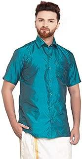 SJS-Men's Half Sleeve Solid Art Silk Shirt (Teal, 36)