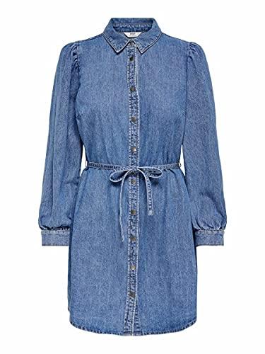 Only ONLROCCO Life LS MD DNM Dress BJ Vestido, Medio De Mezclilla Azul, XS para Mujer