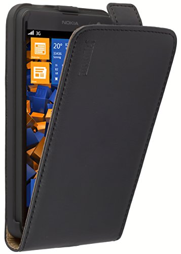 mumbi Echt Leder Flip Hülle kompatibel mit Nokia Lumia 625 Hülle Leder Tasche Hülle Wallet, schwarz