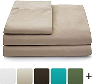 Cosy House Collection Luxury Bamboo Bed Sheet Set - Hypoallergenic Bedding Blend from Natural Bamboo Fiber - Resists Wrinkles - 4 Piece - 1 Fitted Sheet, 1 Flat, 2 Pillowcases - King, Tan