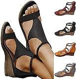 New 2021 Women's Platform Sandals T-Strap Block Heel Sandals Heeled Ankle Wedge Ankle Strap Open Toe Sandals,with Zipper Vintage Beach Sandals Ladies Walking Shoes,Plus Size (Black,6)