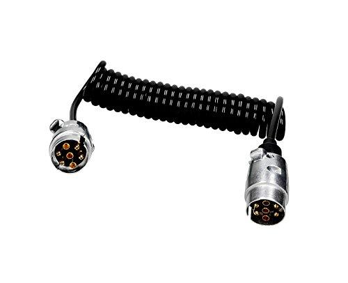 Verbindingskabel spiraalkabel 3,5 m lengte met 2 x stekkers mannelijk 7-polig