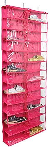 Moderno zapatero en la puerta, organizador de almacenamiento de zapatos colgantes con 26 bolsillos para zapatos, perchero de almacenamiento de zapatos con ganchos para armario plegable, transparente 2