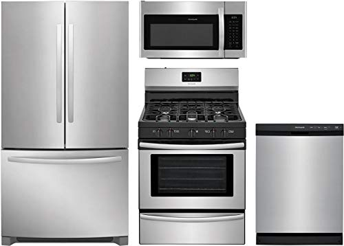 Frigidaire 4-Piece Kitchen Appliance Package with FFHN2750TS 36' French Door Refrigerator FFGF3052TS 30' Freestanding Gas Range FFMV1745TS 30' Over-the-Range Microwave and FFCD2413US 24' Full Console Dishwasher in Stainless Steel