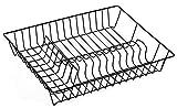 MSV Geschirrabtropfkorb - Abtropfgitter aus Draht - Geschirrständer mit Kunststoffüberzug schwarz - Geschirrkorb 43 x 34 x 7,5 cm - Abtropfgestell für Teller und Besteck - Küchenhelfer