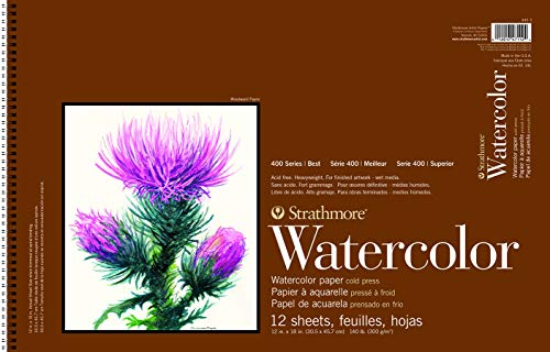 Strathmore P440-3 Watercolor Pad, 12'x18' Wire Bound, 12 Sheets