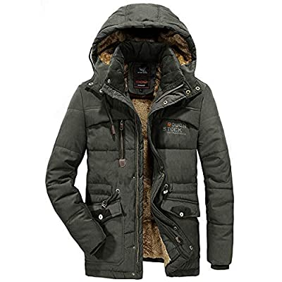 Landscap Men's Winter Velvet Thickened Lined Coat Plus Size Padded Windproof Warm Jacket Cotton Padded Coat Army Green