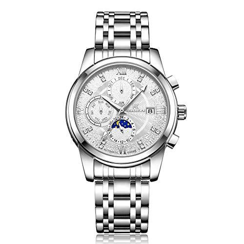 Reloj de Moda Esqueleto mecánico de Acero Inoxidable para Hombre, Impermeable, automático -B