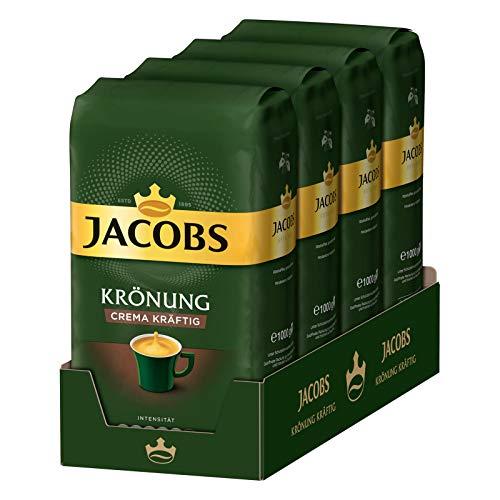 Jacobs Kaffeebohnen Krönung Crema kräftig, 4 x 1 kg Bohnenkaffee