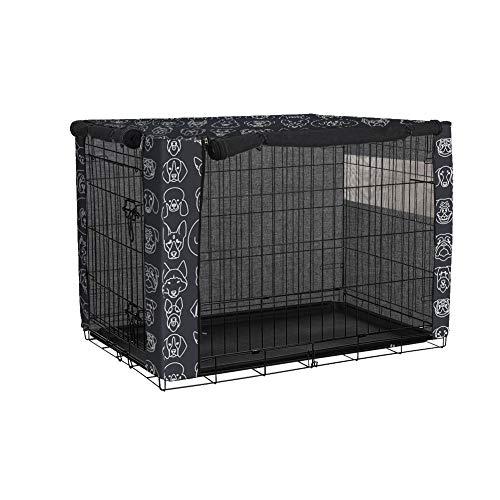Cubierta para cajón de perro de doble puerta, duradera a prueba de viento para mascotas cubierta para jaula de perro de alambre (XL, Y09)