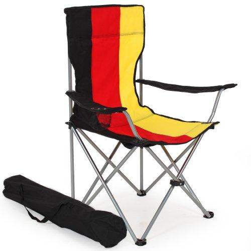 TecTake Silla de Camping Plegable + Portabebidas + Práctica Bolsa de Transporte cantidades - (2X Negro-Gris | No. 401248)