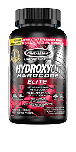 Hydroxycut Hardcore Elite, Supports Weight Management, Increase Energy & Focus, Increase Metabolism, 110 Count (Packaging may vary)