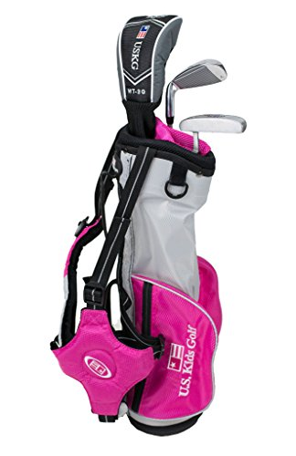 U.S. Kids 2017 Golf Ultra Light 3 Club Carry Golf Set con Borsa (39' Altezza), 13561, Argento/Rosa.