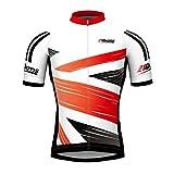 21Grams Maillot Ciclismo Hombres Manga Corta Rojo Británico Campeón Bandera Bicicleta Camiseta MTB Transpirable Cremallera Impermeable (L)