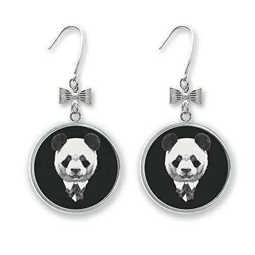 Gentleman Anzug hübsche Panda-Ohrringe mit Schatzschleife
