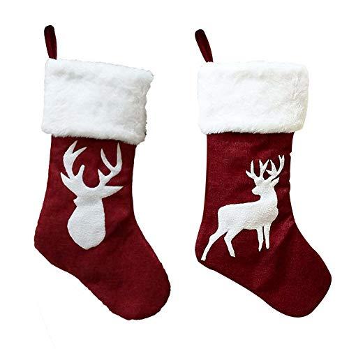 Weihnachtsstrumpf 2 Deko Kamin Christmas Stocking Rentier Strumpf Goodie Bags zum befüllen und aufhängen groß Ideale Weihnachtsdekoration Weihnachtsbaumschmuck Tischdekoration Weihnachtsstrümpfe