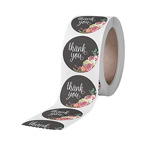 Evazory - Rollo de 500 etiquetas adhesivas redondas para boda, bricolaje, artesanía, diseño floral