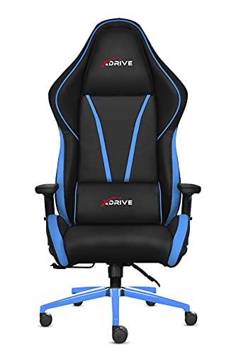 x Drive Sedia da gaming (ergonomica in pelle sintetica, altezza seduta regolabile e inclinazione dello schienale, sedia da gamer con supporto lombare, alta qualità (pelle PU, nero e blu SC´1)