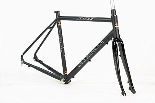 Motobecane Turino Elite Kinesis Aluminum Disc Brake Road Bike Frame with Carbon Fork and Headset (Matt Black, 53cm - 5'7' to 5'9')