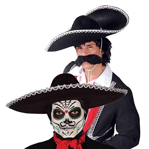 Rojo Sombrero Mexicano sombrero Pompones Salvaje Oeste Accesorio Disfraz Elaborado Vestido