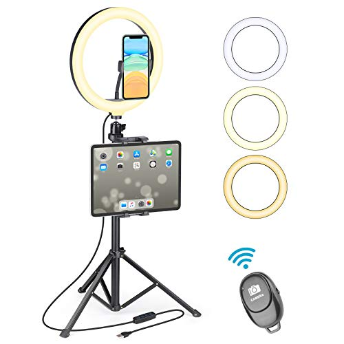 """Ring Light with Tripod Stand Phone Holder, UFULA 10"""" LED Desk RingLight Table Selfie Circle Lamp Video Recording for Cell Phone GoPro Camera Live Stream Makeup Photoshoot TikTok Zoom Meeting"""