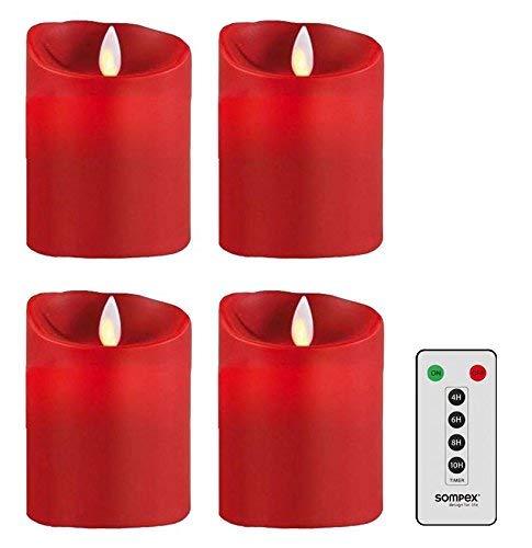 sompex Flame Echtwachs LED Kerze, fernbedienbar, rot - in verschiedenen Größen, Höhe:4er Set (4x10cm.1xFB)