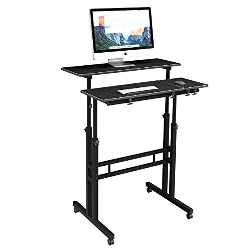 DlandHome Sit-Stand Desk Cart Mobile Height-Adjustable Sit to Stand Office Desk Riser Standing Table Workstation Mobile Desk,Black