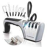 IAGORYUE Versión Mejorada Afilador de Cuchillos Profesional, Mejor Afilador 4 en 1 Knife Sharpener para Muchos Tipos de Cuchillos Apto para Uso en Cocina. 22 * 7.5cm Black + Finger Protector