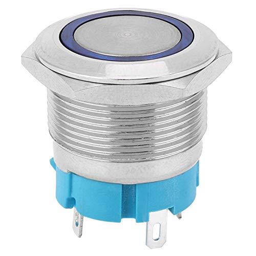 Interruptor de Botón de Metal, Interruptor de Botón de Bloqueo Automático de 4 Pines 2PCS con Anillo de Luz 22 mm IP65(Azul 220VAC)