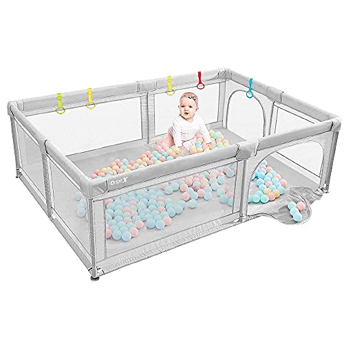 Baby Playpen Dripex Kids Safety Activity Center Indoor Outdoor Toddler Fence with Breathable Mesh Extra Large Play Yard for Boys Girls Babies, 150x200cm
