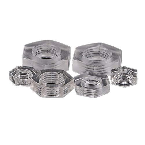 KUNSE Mxhn1 50Pcs Tuercas de Acrílico Transparente Hex Plástico Tuerca Lavadora Hexagonal...