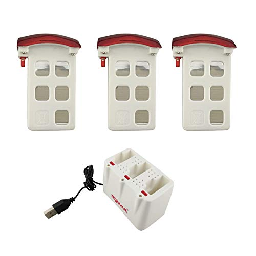 3PCS 3.7V 500mAh Lithium Battery with 3 in 1 Charger for SYMA X5UW X5UC RC Helicopter Drone Parts Red Lithium Battery