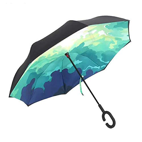 LOVEHEVOL Paraguas Invertido De Doble Capa Control Manual Forma C Mango Paraguas Plegable Invertido Paraguas Exterior Anti-UV A Prueba De Viento con Bolsa De Transporte,Green-Environment
