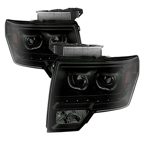 Aftermarket Replacement LED Halo Headlights for Ford F150 09-14 - Black/Smoked Lens