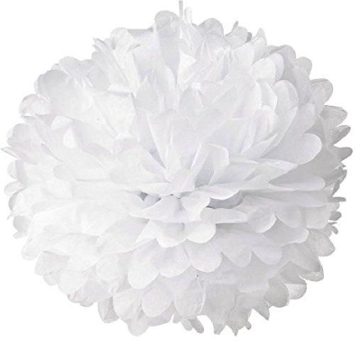 10 x Qualitäts-weißes Seidenpapier Pom Poms in verschiedenen Größen (35cm, 25cm, 15cm) für Hochzeitsdeko, Parteien, Dekoration (15cm) …