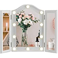 Luxfurni Vanity Lighted Tri-fold Makeup Mirror with 10 Dimmable LED Blubs