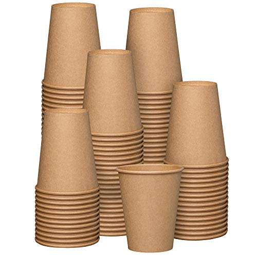 [100 Pack] 12 oz. Kraft Paper Hot Coffee Cups- Unbleached