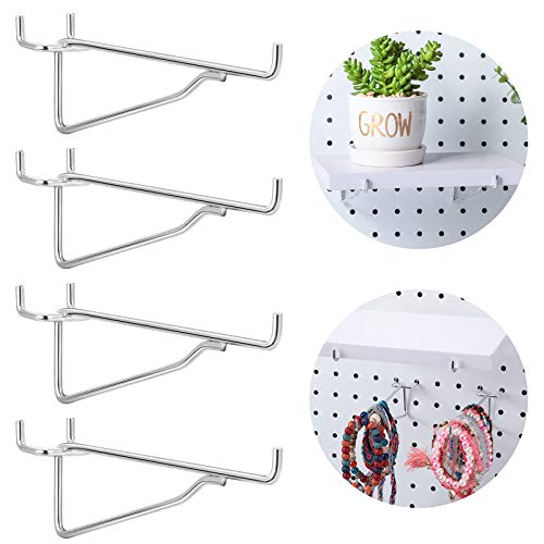 Metal Peg Board Hooks Tool Shelf Peghooks Peg Hooks Peg Board Organizer for Workbench, Kitchen, Craft Shop, Retail Shop, Office and Kitchen, Fits 1/8 ,3/16 and 1/8 Pegboard (4, 6 Inch)