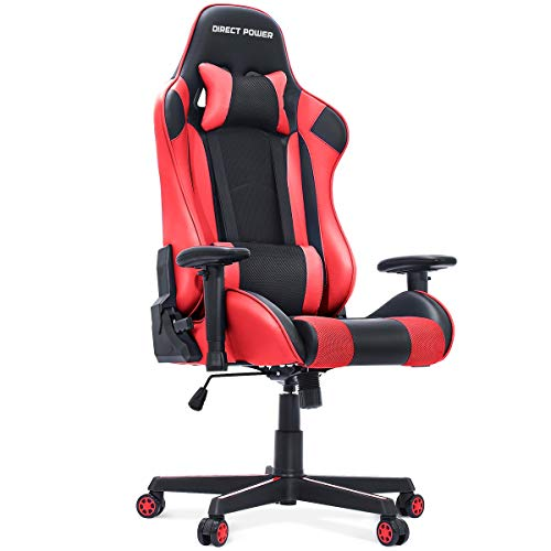 HEAO Gaming Chair 400 lbs, Big and Tall Wide Office Chair, PU Leather Executive E-Sports Chair Ergonomic Racing Style PC Chair with Headrest and Lumbar Support Black and Red