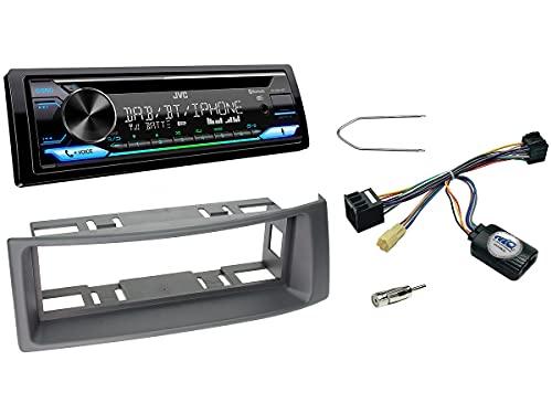 NIQ Autoradio Einbauset geeignet für Renault Megane | Scenic inkl. JVC KD-DB912BT DAB+ & Lenkrad Fernbedienung Adapter in Grau