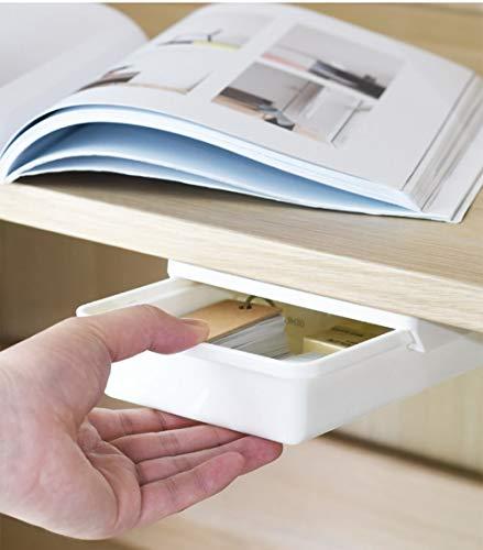 Lochfreie Versteckte Schubladenbox, Versteckte Schublade, Pop-Up Schreibtisch Organizer, Untertisch-Schubladenbox für Zuhause (Klein)