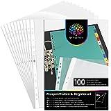 OfficeTree 100 x Fundas Plastico A4 Transparente - Portafolios A4 Plastico - Con Separadores para Archivador con Numérica 1-12 para un Almacenamiento